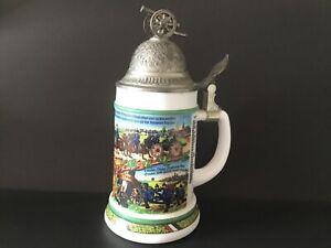 Vintage BMF Lidded Beer Stein Mug - West Germany Bierseider 9'' Tall