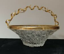Glass Candy Dish Tray Basket Bowl with Metal Handle