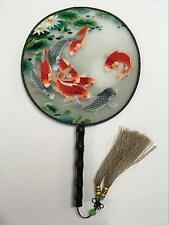 3D Lifelike Koi Goldfish in Pond Embroidery Stitchwork Silk Hand Fan Handmade