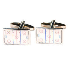 White Ice Hockey Rink Cufflinks With Gift Pouch Iced Pitch Team Game Present New