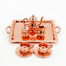 8PCS 1:12 Copper Tableware Tea Coffee Set Metal Miniature For Re-ment Orcara Hot