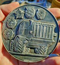 Rare BIG Soviet USSR Desk table medal traktor Leningrad plant Kirov FACTORY 95mm