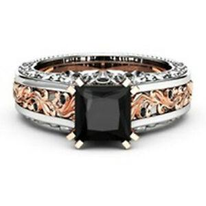 Fashion Women 925 Silver Rings Black Sapphire Jewelry Wedding Rings Size 5-10