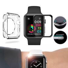 ✅[SET] Apple Watch 38mm 1 2 3 3D FULL COVER Schutzglas 9H VOLLKLEBEND + TPU CASE
