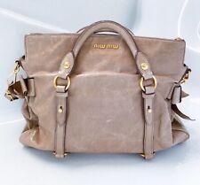 Miu Miu Women Beige Soft Leather Bow Large Satchel Bag Handbag