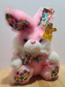VINTAGE RARE GOFFA Pink Easter Bunny Plush Bunny W/Jellybean Print ORIGINAL TAGS