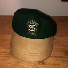 Stetson Country Hat Strap back Cap Green Brown Leather USA ballcap dad hat