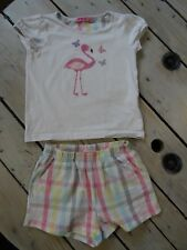 Pyjama 2 pièces t-shirt manches courtes imprimé Flamant Rose + short NKY 5 ans