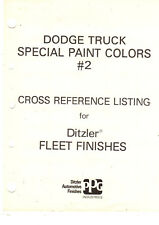 1980 S Original Dodge Truck Ditzler Special Paint Colors 2 Cross Reference