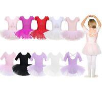 Kids Girls Gymnastics Leotard Tulle Ballet Dance Tutu Dress Mini Skirt Dancewear
