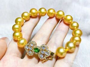 """AAA 9-10 mm natural  round south sea gold  pearl bracelet 7.5 """"-8 """""""