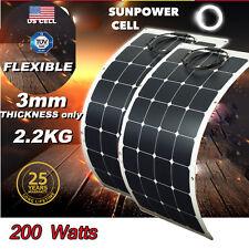 Solar Panel 2Pcs 100W 200 Watts Mono Flexible 18V RV Boat Home Battery Charger