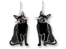 Zarah Zarlite Black Kitty Cat Pierced Earrings Enamel Sterling Silver Plate