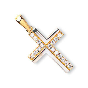 Two Colour Gold Cross Pendant 9 Carat Yellow and White Gold Hallmarked British