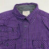 PD&C Button Up Shirt Men's Medium Long Sleeve Purple Black Plaid Casual Cotton