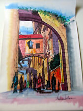 Israeli Art Judaica -The Walk to the Shouk L Lalum Original Watercolor 27x19 1/2