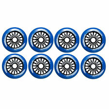 110mm blue inline skate wheels by Trurev ( 8 wheels total). NEW WHEEL. 84A