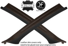 BLACK & BROWN 2X A PILLAR REAL LEATHER COVERS FOR BMW 3 E46 COUPE 1998-2005