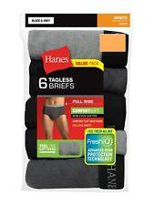 "Hanes Men's Briefs Full Rise Dyed FreshIQ ComfortSoft 6 Pair S 28-30"" Black Grey"