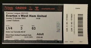 EVERTON vs WEST HAM UNITED TICKET from the AWAY end !!! 17/10/2021 Great Atmo