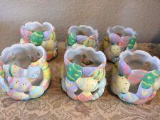 Porcelain Bisque Easter Votive/Tea Lites Set of 6 Hand Painted Eggs, Chicks