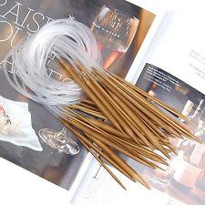 1Set (18pcs) Single Pointed Carbonized Bamboo Circular Knitting Needles