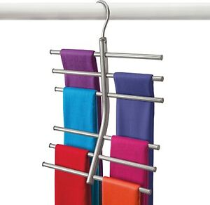 Lynk Hanging Tiered Scarf Holder - Closet Hanger - Organizer Rack - Platinum