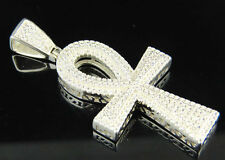 Mens White Gold Finish Sterling Silver Flare Edge Ankh Cross Lab Diamond charm
