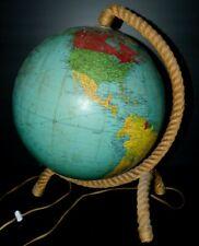 LAMPE MAPPEMONDE GLOBE TERRESTRE ATLAS TARIDE 60 design AUDOUX MINET PIED CORDE