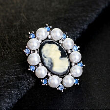 Vintage Pearl Rhinestone Antique Silver Female Jewelry Cameo Gift Brooches