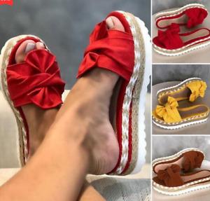 Damen Sommer Sandalen Pantoletten Schlappen Hausschuhe Schuhe Korkoptik DE