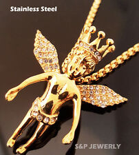"""New Stainless Steel Gold Crown baby angel Pendant & 24"""" Round Box Chain Necklace"""