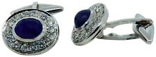 Blue Sapphire & Diamond 18k White Gold Cufflinks