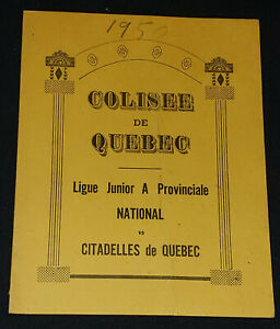 1950 NATIONAL vs CITADELLES DE QUEBEC COLISEE HOCKEY PROGRAM BELIVEAU, GEOFFRION