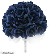 Navy Blue Silk Rose Hand Tie (36 Roses) - Silk Bridal Wedding Bouquet