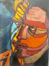 ARTISANS GALLERY-ABSTRACT-bipolar-uomo-africa-OUTSIDER-ORIGINAL-painting