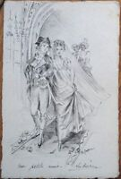 Original Art 1904 Hand-Drawn Postcard - French Wedding Scene, Artist-Signed