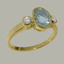 Solid 14ct Yellow Gold Natural Aquamarine & Cubic Zirconia Womens Trilogy Ring