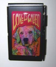 Dean Russo Golden Retriever Dog Notepad Set with Aluminum Case & Chrome Pen