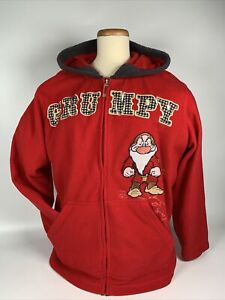 Vtg Disney Grumpy Snow White Red Fleece Full Zip Sweatshirt Hoodie Plus Size 2XL