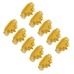 10x Gold-plated XT60E-M Male Plug Connector Surface Mounted Non-slip Plug Design
