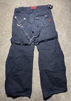 VINTAGE 90s Tripp NYC Women Black Pants SZ 13 Goth Chain Zipper Metal Punk Rock