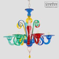 Demetra lustre en verre de Murano 6 lumières multicolor
