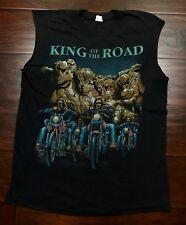 King of the Road Biker Motorcycle Cut Off Sleeveless Black Graphic T-Shirt Mediu