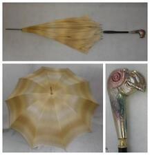 Antique White Metal Detailed Bird Head Silk Parasol/Umbrella