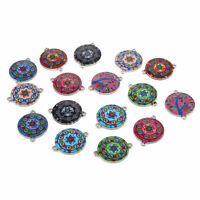 10pcs Mixed Round Plate Oil Drip Connectors Alloy Charms DIY Jewelry Making 19mm