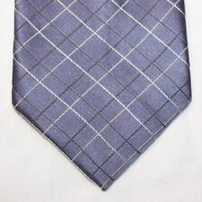 NEW Calvin Klein Silk Neck Tie Medium Blue with Gray and White Plaids 1273