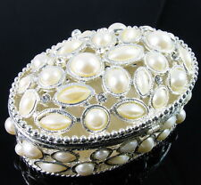 Oval White Pearl Rhinestone Jewelry Box Ring Necklace Earring Bracelet Vintage