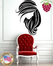 Wall Stickers Vinyl Decal Beautiful Woman Face Long Hair Beauty Salon EM514