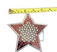 BELT BUCKLE STAR COWBOY SILVER RED STONE MEN WOMEN WESTERN HIGH QUALITY